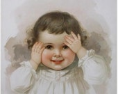 Children's/Antique Prints/Vintage/Victorian/Wall Art/Lithograph/Babies/Ida Waugh- Peek-A-Boo - verse by Amy Blanchard Chromo-Date1888