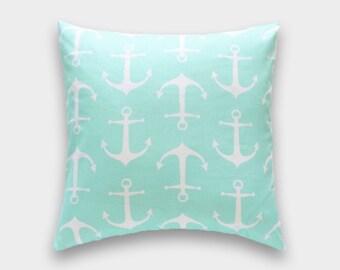 Mint Green Anchors. Throw Pillow Covers. 16x16, 18x18, 20x20 Coastal. Nautical. Beach. Cushion Covers.