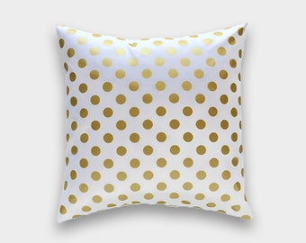 Metallic Gold Dots Decorative Throw Pillow Cover. 20x20 Inches. Polka Dots Cushion Cover.