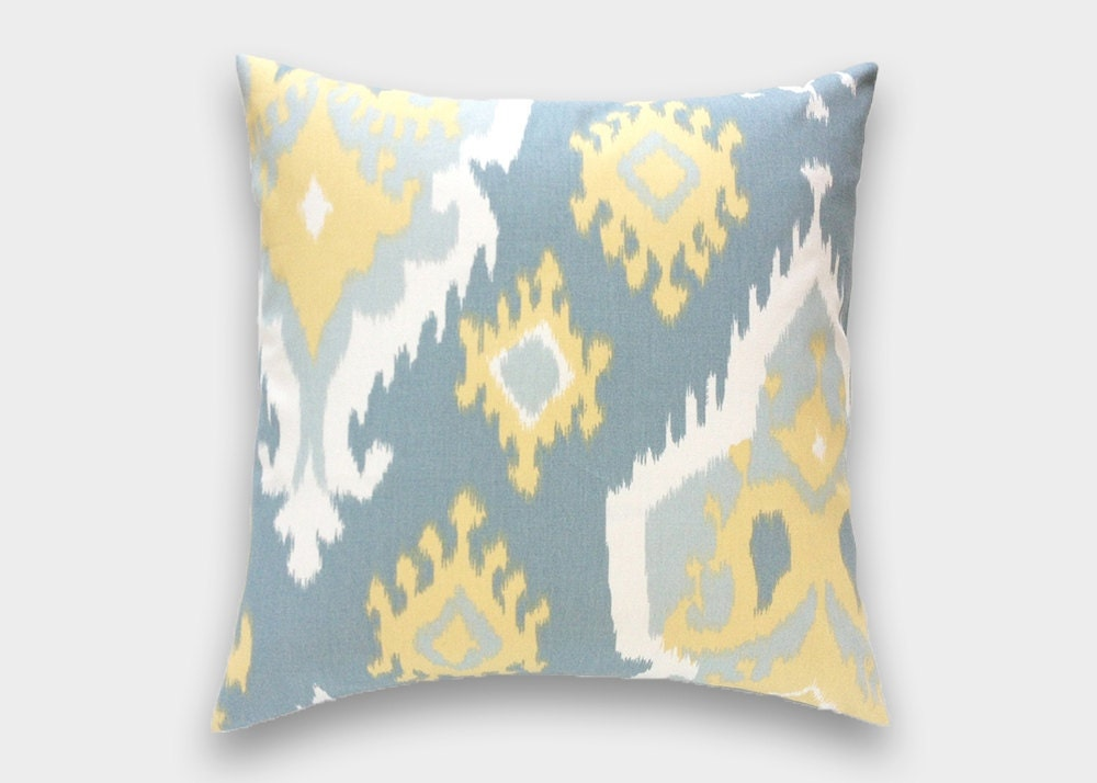 70% OFF Large Ikat Pillow Cover. Pale Yellow Saffron Grey.