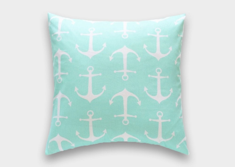 CLEARANCE 50% OFF Mint Green Anchors Throw Pillow Covers.