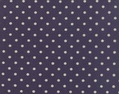 Navy Blue and White Linen Polka Dot Fabric - Mochi Dots by Momo from Moda 1 Yard