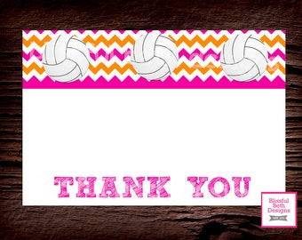 VOLLEYBALL THANK YOU Volleyball Printable Thank You Notes, Instant Download, Instant Volleyball Thank You Note, Thank You Note, volleyball