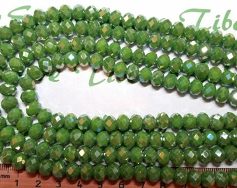 1 strand of 16 inches of 8x6mm Faceted Rondelle Opaque Green Chinese Crystal