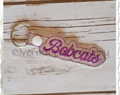 Bobcats In The Hoop Snap Tab Key Fob Machine Embroidery Design