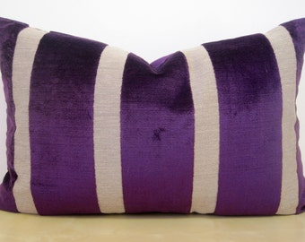 LARGE lumber WIDE STRIPE linen and velvet Royal Purple cushion cover. Fabric is Osborne and Little, from the Du Barry Velvet collection.