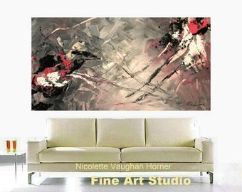 "Original 48"" gallery canvas Abstract painting,Original comtemporary Art,lots of texture Ready to hang  by Nicolette Vaughan Horner"