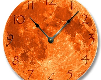 HARVEST MOON pattern wall CLOCK - celestial home decor - blue and yellow moon also