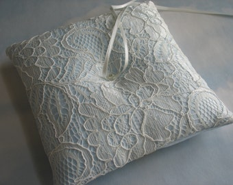 Blue and ivory wedding ring pillow. Something Blue. Ring cushion for weddings.