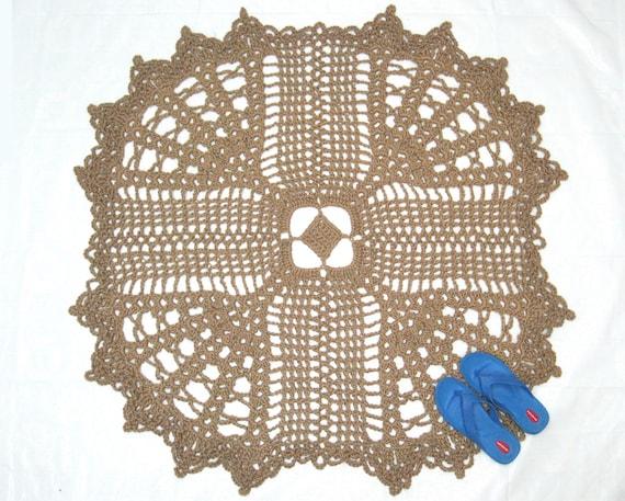Square Jute Cross Rug Crochet Doily Rug Christian By