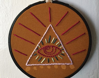 All Seeing Eye Embroidery in Embroidery Hoop