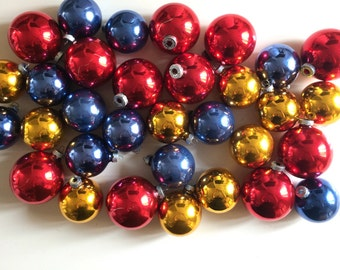 Mid Century Shiny Brite Christmas Tree Ornament Collection - Metallic Gold Red and Blue Glass Balls