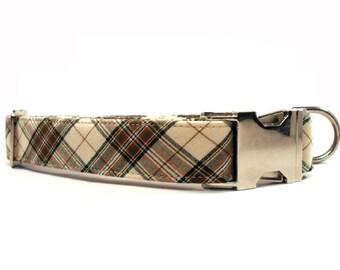 Tartan Brown Cream Dog Collar