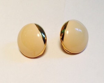 Gold and Cream Clip-On Earrings