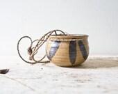 Vintage Ceramic Pot Hanging Planter - Brown Glazed Handmade Boho Ceramic Pottery Cup Vintage Planter Bowl Bohemian Chic