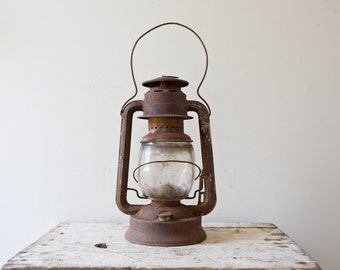 Vintage Dietz No 2 Rusted Kerosene Lantern - Brown Metal Lantern Oil Lamp Tubular Old Lantern Antique