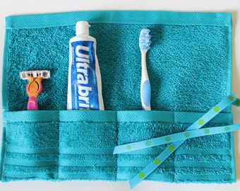 Travel Toothbrush Roll,  Toiletry Roll, Toothpaste Roll, Bright Teal, Gift Under 10, Free Shipping in the USA
