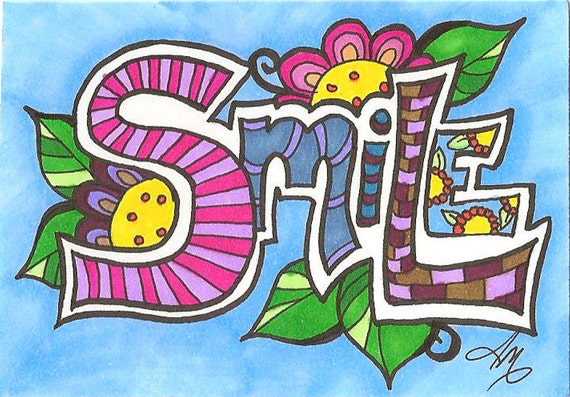 Smile, Typography Permanent Marker Art on Bristol ACEO Artist Trading Card