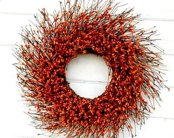 Fall Wreath-Fall Door Decor-ORANGE Door Wreath-Fall Twig Wreath-Rustic Berry Wreath-Autumn Berry Wreath-Fall Home Decor-Halloween Home Decor