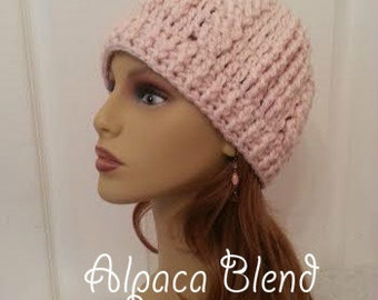Crochet Hats Womens Alpaca Womans Hat Pink Alpaca Crochet Hat Womens Hats Crocheted Cable Beanie Womens Pink Alpaca Hat Crochet Beanies Pink