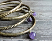 Bohemian Bangles: Stackable Bracelet Set, Gypsy Jewelry, Amethyst Beads, Indian Boho Brass Bangles, Engraved Bracelet Set, India Jewellery