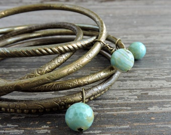 Stackable Bracelet Set, Engraved Brass Bangles, Turquoise Fire Agate Beaded Bollywood Indian Jewelry, Festival Stacked Layering Bracelets