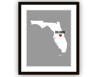 Florida State Map, Heart on Orlando or Customize with any City in Florida, Poster, Art Print