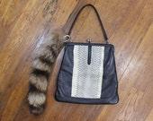White Snake PURSE / Snake Skin & Raccoon Tail Handmade / Vintage Renovated Handbag