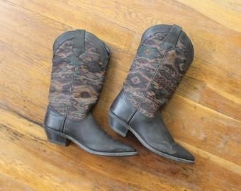 7 Kilim Cowboy Boots / Vintage Textile and leather Boots / Women's Shoes