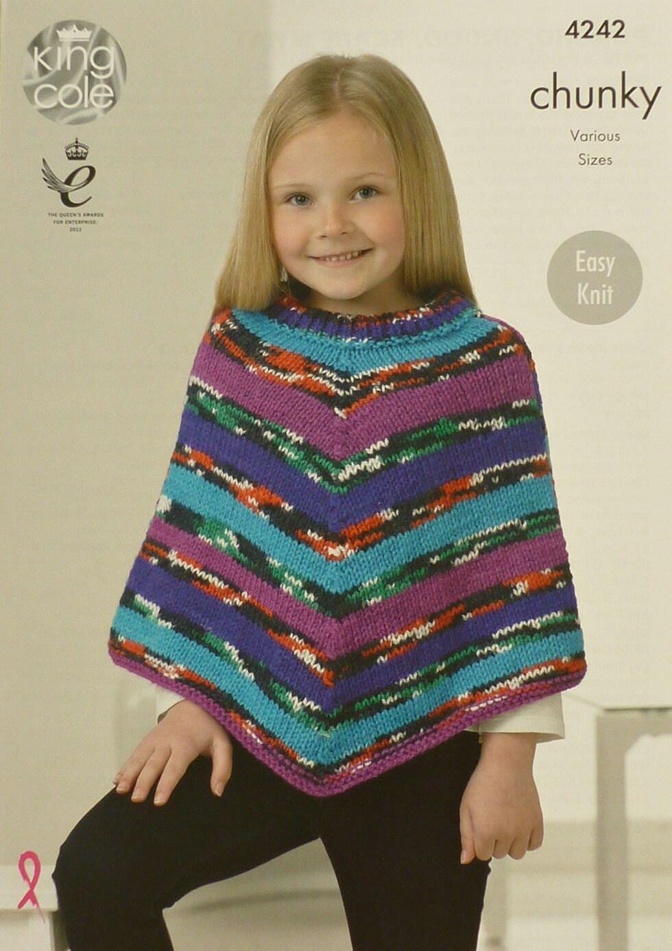 Girls knitting pattern k4242 childrens easy knit poncho knitting 464 bankloansurffo Choice Image
