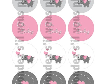 Oh Baby Elephants Cupcake Toppers - DIY