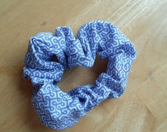 Cute, practical blue and white scrunchie