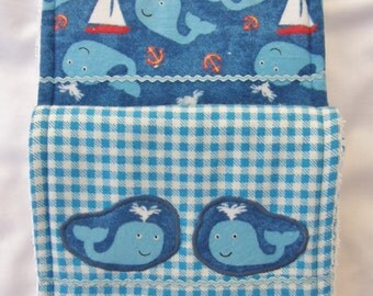 Baby Burp Cloths-Set of Two-Triple Layer-Blue Whale Print with Blue Plaid with Appliqued Whales. Boy.