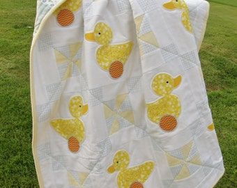 Ducky Baby Quilt for Boy or Girl. Flannel Fabric.