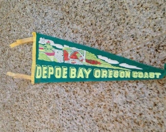 Vintage Pennant depoe bay coast oregon  train  felt banner