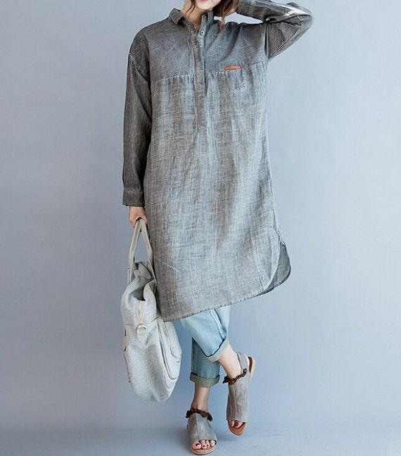 Women Loose Fitting Soft comfortable Cotton dress shirt