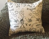 Pillow Cover - mountains - 18 x 18 Hand Printed Design