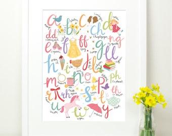 Welsh Alphabet Print for Girls. Merched Welsh Illustrated Art. Wales Cymru. 12x16. Nursery Wall art. ABC. Educational. Y Wyddor