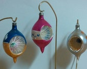 Antique Vintage Christmas Blown Glass Teardrop Indent Reflector Ornaments Poland Set of 3