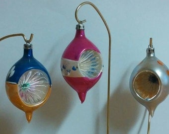 Antique Vintage Christmas Blown Glass Teardrop Indent Reflector Ornaments Poland Set of 3
