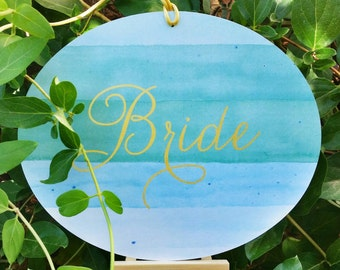Oval Bride & Groom Chair Signs- Wedding Chair Signs - Watercolor Wedding Sign - Mint and gold wedding, Blushandbirchpaper