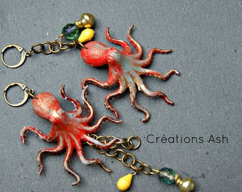 Octopus asymetrical earrings - Customized fun earrings, summery