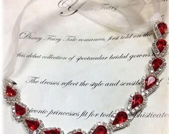 Bridal bracelet, Wedding jewelry,bridal jewelry, bridesmaid bracelet, Red rhinestone bracelet, crystal bracelet