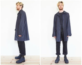 90s Navy Blue PVC Raincoat Jacket / Topcoat