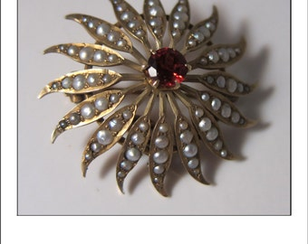 Beautiful Large 10k Victorian Seed Pearl Starburst Brooch Pendant with Garnet Center
