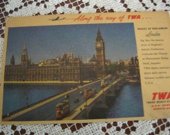 TWA postcard postmarked London, 1954