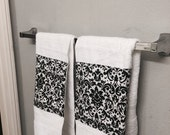 DAMASK BLACK and white guest towel set of 2 hand towels in damask trim beautiful bath or kitchen set elegant design cotton
