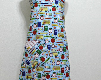 School Days Bus Books Clock Apple Crayon Stars Pencils Adult Woman Reversible Original  Apron Arvilla Ruby