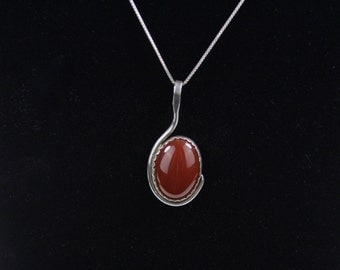 REDUCED...Vintage Southwestern Huge Red Coral Stone in Bezel Sterling Silver Setting Signed Pendant Necklace circa 1980s