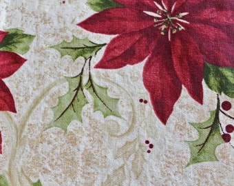 Beautiful Christmas Tablecloth Rectangular Poinsettia Cream Red 51 X 68